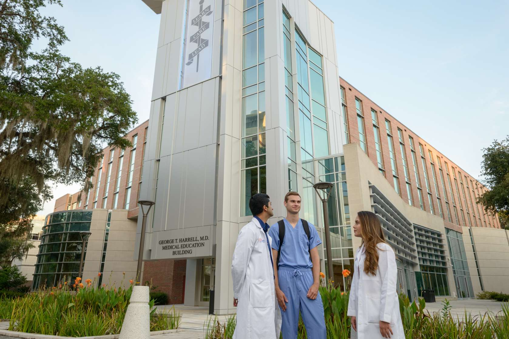 Students in front of the Medical Education Building